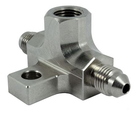 "Picture of Steel -3AN Male 1/8"" NPT Port Brake Switch Tee Piece"